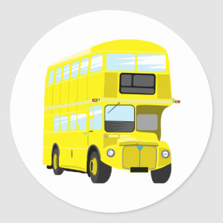 Yellow Bus Round Sticker