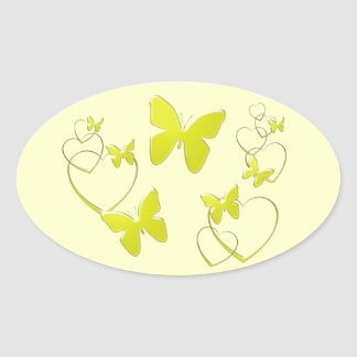 Yellow butterflies and hearts oval sticker