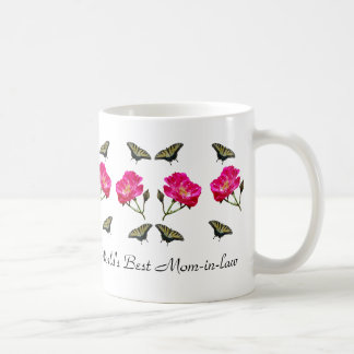 Yellow Butterflies and Pink Roses Mum-in-law Basic White Mug