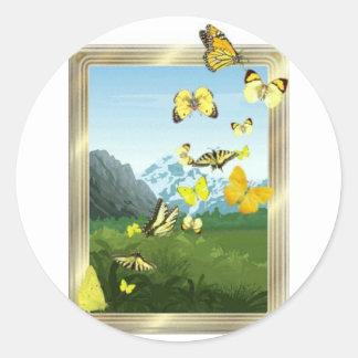 Yellow butterflies classic round sticker