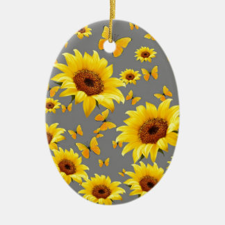 YELLOW BUTTERFLIES LOVE SUNFLOWERS CHRISTMAS ORNAMENT