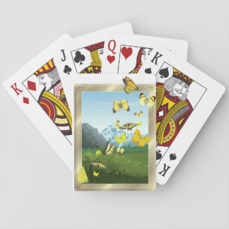 Yellow butterflies on playing cards