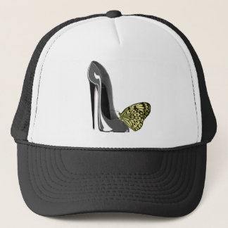 Yellow Butterfly and Grey Stiletto Shoe Art Gifts Trucker Hat