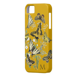 Yellow Butterfly Botanical, Monogrammed Barely There iPhone 5 Case