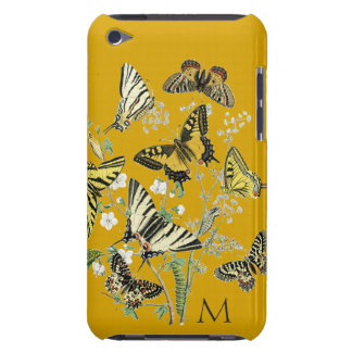 Yellow Butterfly Botanical, Monogrammed iPod Touch Case-Mate Case