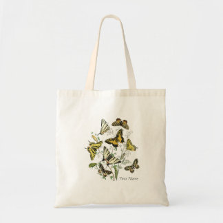 Yellow Butterfly Botanical Tote Bag