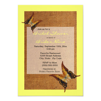 Yellow Butterfly Burlap Bridal Shower Invitation