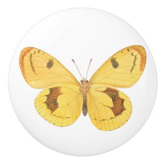 Yellow Butterfly Custom Ceramic Door Knob