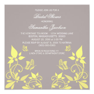 """Yellow Butterfly Floral Bridal Shower Invite 5.25"""" Square Invitation Card"""