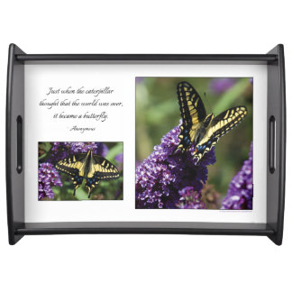 Yellow Butterfly I & II - LARGE Serving Tray