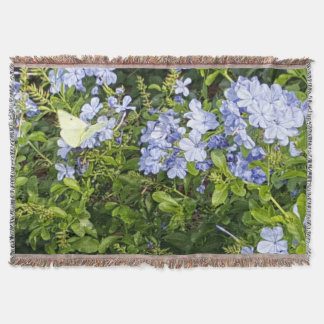 Yellow Butterfly Lavender Blue Flowers in a Park Throw Blanket