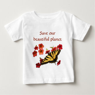Yellow Butterfly on Red Flowers Save Our Planet Baby T-Shirt