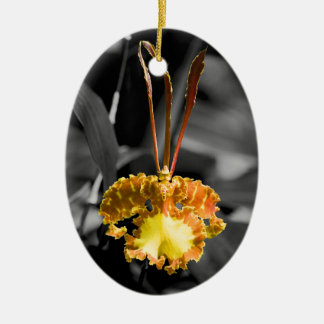 Yellow Butterfly Orchid Christmas Ornament