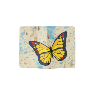 Yellow butterfly passport holder