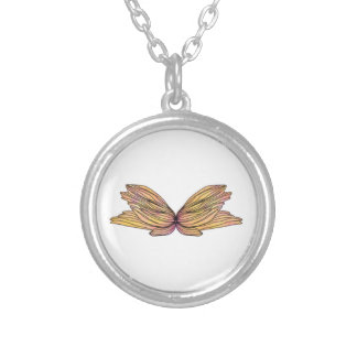 Yellow Butterfly Round Pendant Necklace