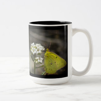 Yellow Butterfly Two-Tone Coffee Mug