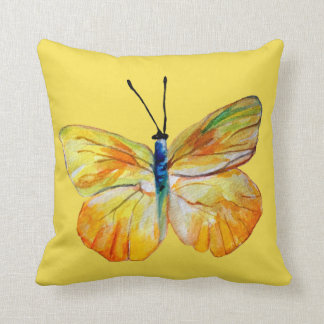 Yellow Butterfly Watercolor drawing Cushion