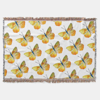 Yellow Butterfly  Watercolor Throw Blanket