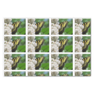 Yellow Butterfly White Lilacs tiles for decoupage Tissue Paper