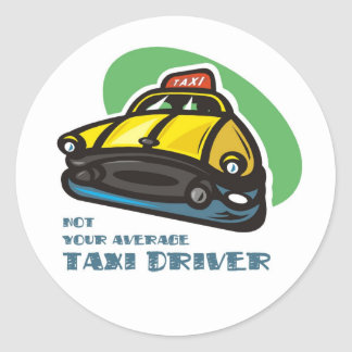 Yellow cab cartoon: Not your average taxi driver Round Sticker