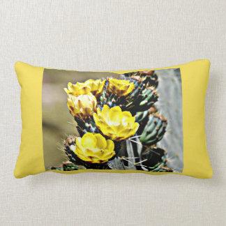 Yellow Cactus Blooms Lumbar Throw Pillow