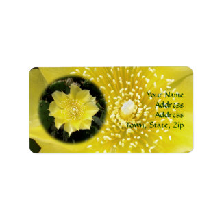 Yellow Cactus Prickly Pear Flower Address Label