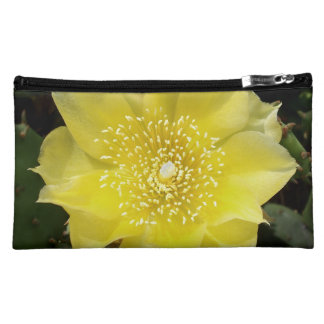 Yellow Cactus Prickly Pear Flower Cosmetic Bags