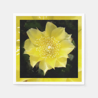 Yellow Cactus Prickly Pear Flower Disposable Serviettes
