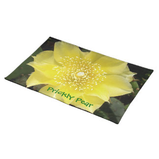 Yellow Cactus Prickly Pear Flower Placemat