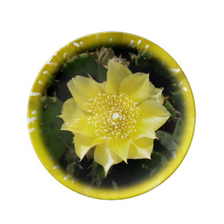 Yellow Cactus Prickly Pear Flower Porcelain Plate