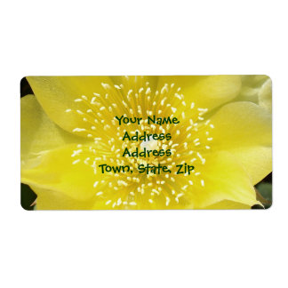 Yellow Cactus Prickly Pear Flower Shipping Label