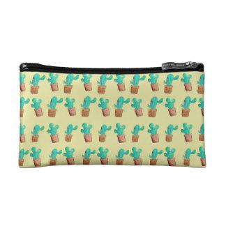 Yellow Cactus Print Makeup Bag