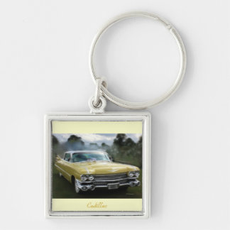 Yellow Cadillac Silver-Colored Square Key Ring