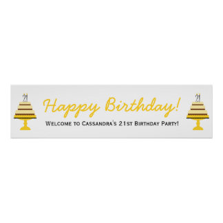 Yellow Cake 21st Birthday Party Banner Poster
