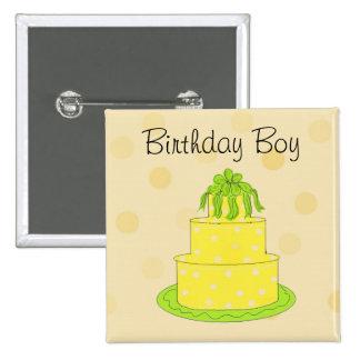 Yellow Cake - Birthday Boy 15 Cm Square Badge