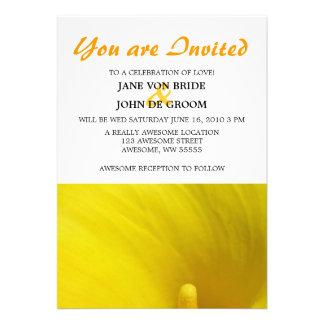 Yellow Calla Lily Flower 5x7 Custom Invitations