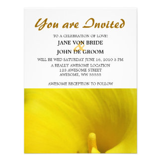 Yellow Calla Lily Flower Personalized Announcement