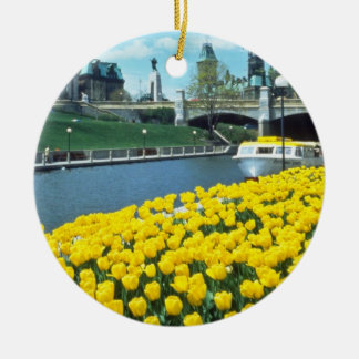 yellow Canadian Tulip Festival, Rideau Canal, Otta Christmas Ornament