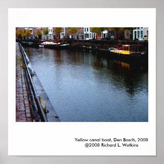 Yellow Canal Boat, Den Bosch, 2008 Poster