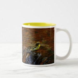 Yellow Canary bird bathing Two-Tone Mug