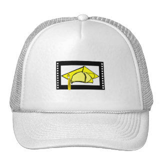 Yellow Cap Gold Tassel Mesh Hats