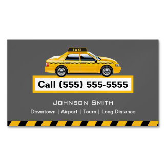Yellow Cap Taxi Driver Chauffeur Magnetic Business Cards