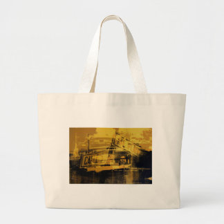 Yellow Car and Street Sign Large Tote Bag