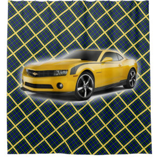 Yellow Car on Blue, Green and Gold Plaid Shower Curtain