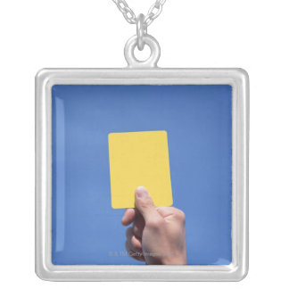 Yellow Card Square Pendant Necklace
