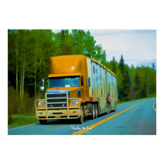 Yellow Cargo Truck Highway Driving Art Poster