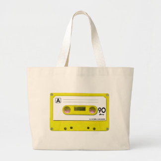 Yellow Cassette Tape Large Tote Bag