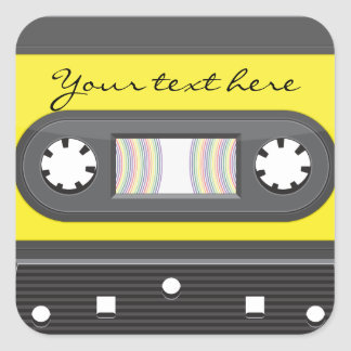 Yellow cassette with rainbow tape sticker