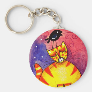 Yellow Cat, Black Crow - Keychain