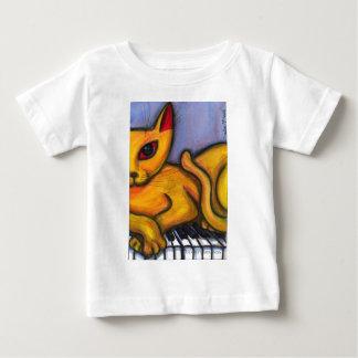 Yellow Cat On Piano Baby T-Shirt